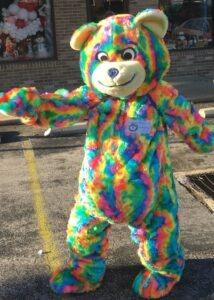 tie dye teddy bear mascot