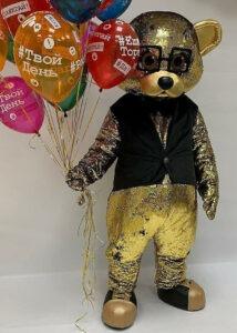 gold teddy bear mascot