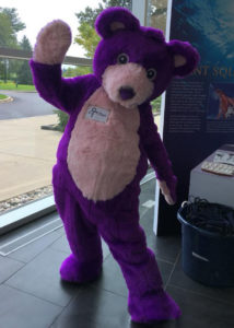 purple mascot teddy bear