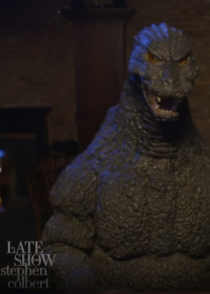 Godzilla visits the late show with Stephen Colbert