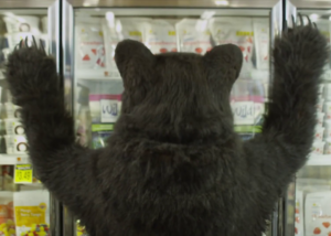 Realistic brown bear costume BTS